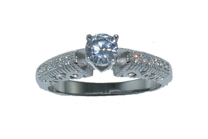 Ασημένιο δαχτυλίδι RG.73255 Μονόπετρο σε ασημί χρώμα με λευκά ζιργκόν έως 6  άτοκες δόσεις be12b037143