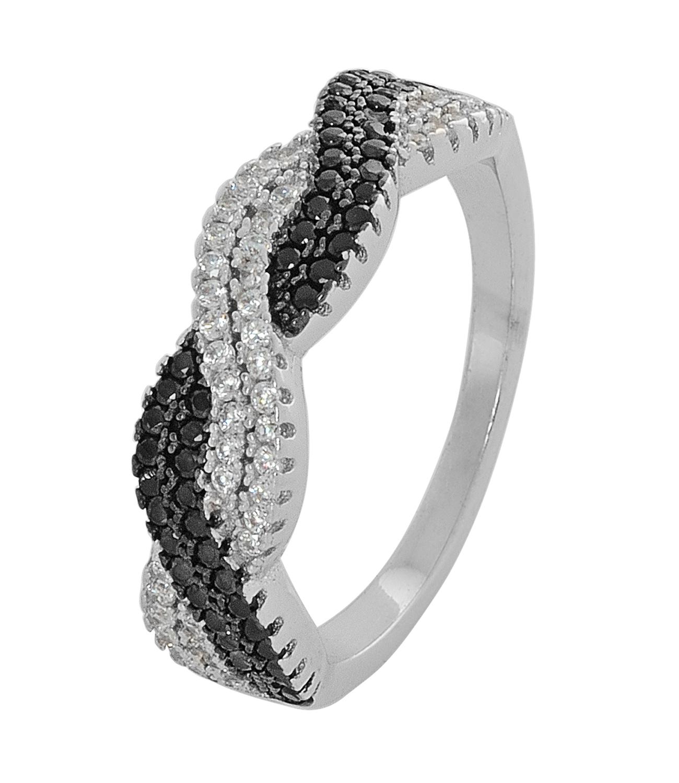 Ασημένιο δαχτυλίδι DS RG708 B πλεκτό φιδάκι σε ασημί χρώμα με λευκά και  μαύρα 3b43744a9c6