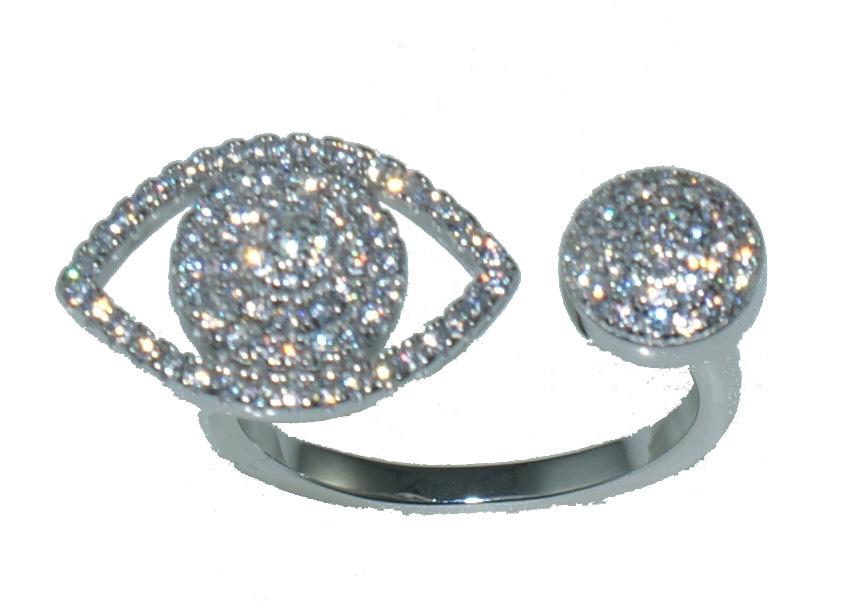 Ασημένιο δαχτυλίδι LH RG092 ματάκι σε ασημί χρώμα με λευκά ζιργκόν έως 6  άτοκες δόσεις 8f655da71b4