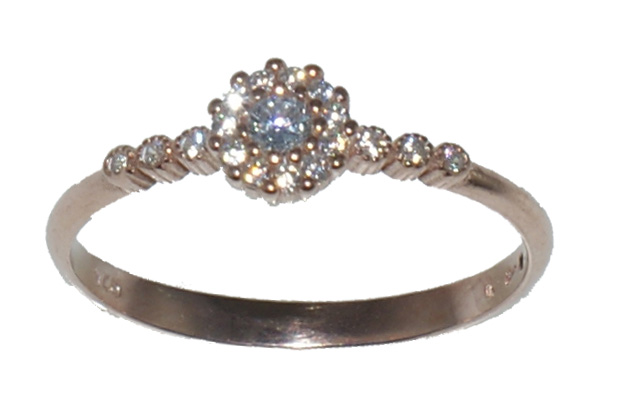Ασημένιο δαχτυλίδι CE RG062 R Μονόπετρο σε ροζ χρυσό χρώμα και λευκά ζιργκόν  έως f3538bb6342